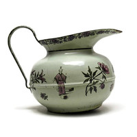 Antique French Enamelware Pitcher. French Water Jug. Hand Painted Enamelware.