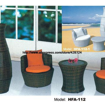 Creative Outdoor Furniture Rattan Sofa Vase Design Garden Sofa Set Patio Table Chair Combination Furniture Factory Price  HFA112