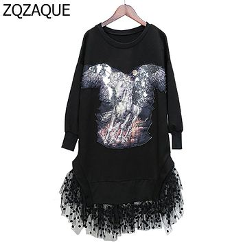 SUPER QUALITY Manual Beading Horse Pattern Women's Sweatshirts Fashion Lace Mesh Patchwork Female's Trendy Sequins Hoodies SY863