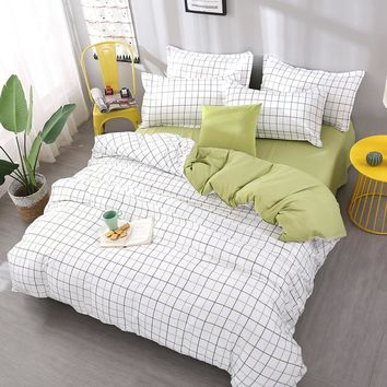 Plaid Bedding Sets Queen King Double twin full king Size Bedlinen Polyester new Duvet Cover Set beautiful bed sheet girl gift