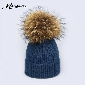 Natural Raccoon Fur Pompon Hat Thick Winter for Women Cap Beanie Hats Knitted Cashmere Wool Caps Female Skullies Beanies