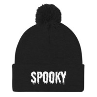 """SPOOKY"" Pom Pom Knit Cap from Worship13, LLC."