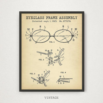 Eyeglass Frame Assembly Patent Print, Digital Download, Optician Eye Clinic Decor Optometry Wall Art, Optometrist Gift, Ophthalmologist