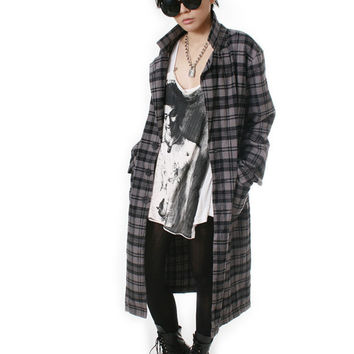 RTBU Punk Rock Unisex Men Women Flannel Plaid Tartan Long Slouchy Oversized Blazer Jacket Trench Coat Covert