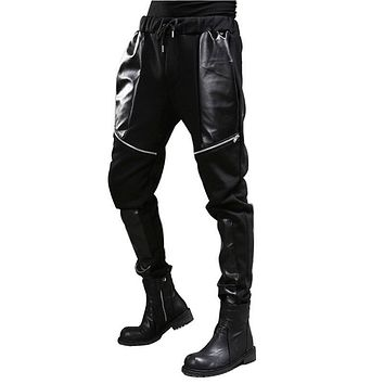 High Quality Autumn Winter Men Casual Pants Leather Zipper Splice Harem Pants Male Fashion Punk Style Trousers