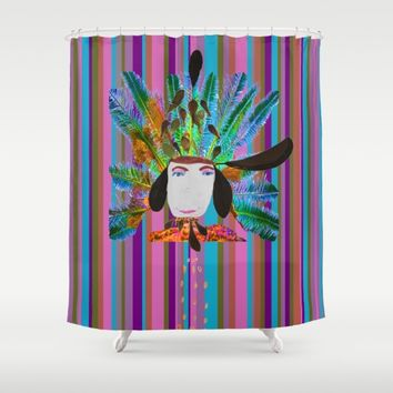 My Grandmother | Native American |Kids Painting |Pop Art Shower Curtain by Azima
