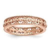 18k Rose Gold Plated Sterling SilverCarved Band Ring, Size 6