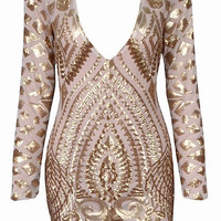 Kimberly Gold Foil Geo-Paisely Bodycon Dress - Nude
