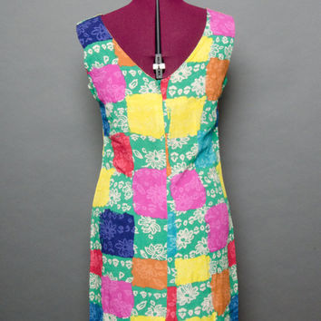 80's Dress Hippie Dress Mod Sleeveless 1980's Vibrant Color Tank Top Mini Dress Bohemian Fitted Zip Back Women's Small Lilly Pulitzer style
