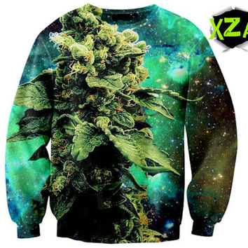 Galaxy Weed Ganja Mary Jane Marijuana in Space Crewneck