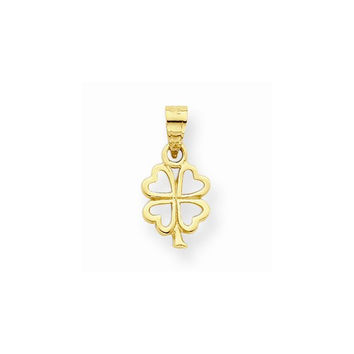 10k Yellow Gold Polish Four Leaf Clover Pendant