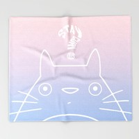 Stay Curious | Serenity & Rose Quartz Throw Blanket by Miss L In Art