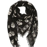 black and white stretch silk skull scarf