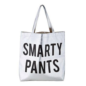 Smarty Pants Platinum Tote Bag in Metallic Silver