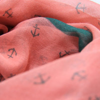 Unique Water Melon Anchor Pattern Scarf with Green Print Trim Color, Fashion  Light Weight Spring Summer 1520 Scarf