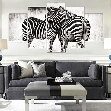 Mordern Canvas Painting Zebra Frameless Animal Art Poster Wall Horse Oil Picture Home Decor Print on Canvas for Living Room 5pcs