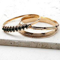 Etched Faux Stone Bangle Set