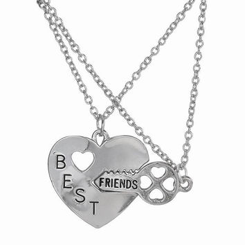 Best Friend Friendship Broken Heart Pendant Necklace Gifts For friends 2pc Sliver Heart Shape Necklaces SM6