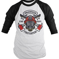 Shirts By Sarah Men's Volunteer Firefighters Shirt 3/4 Sleeve Raglan Mask Axe Shirts