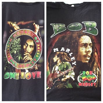 Bob Marley Tshirt, In Memory One Love Black Cotton Tee Shirt, Vintage Bob Marley Shirt, Jamaica Flag Rastafarian Hippie Music Tee XL L
