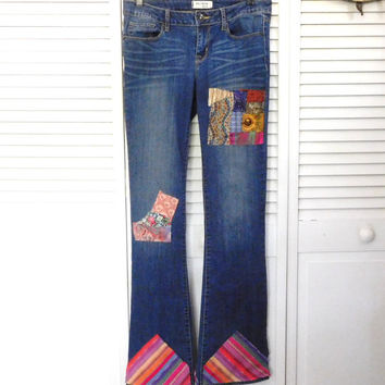 Patched Blue Jeans Hippie Style Clothes Size 9 long Boho Boot Cut Patch Denim Jeans Cowgirl Glam Jeans