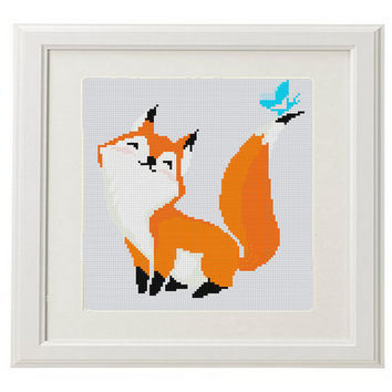 Fox Cross Stitch Pattern fox counted cross stitch pattern Cool Funny cross stitch pattern modern woodland Animal  crossstitch PDF
