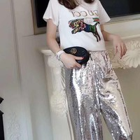"""""""Gucci"""" Women's Leisure  Fashion Letter Tiger Embroidery Printing Short SleeveTops"""