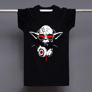 ONETOW Women & Mens Yoda Cool Dj Hip Hop Star Wars Darth Vader T Shirts Male Cotton Short Sleeve T-shirts Funny Print Shirts