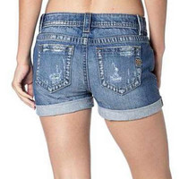 Miss Me Plain Distressed Boyfriend Shorts