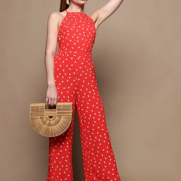 Mina Cropped Halter Jumpsuit - Red