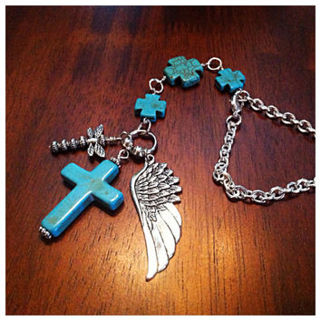 Rearview Mirror Charm, Christian Car Charm, Keychain, Cowgirl Keychain, Turquoise Cross with Angel Wings Pendant Charm
