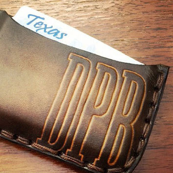 Custom Minimal Card Holder Leather Wallet - Hand Tooled, Hand Stitched / Custom Fathers Day Gift