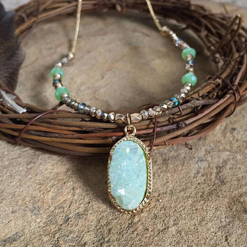 Sea Green Druzy Necklace>> Gold chain and Czech beads