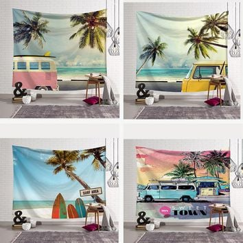 Tropical Summer Beach Tapestry Surfboard Coconut Tree Printed Wall Hanging Decor Art 3D Beach Towel Throw Picnic Blanket