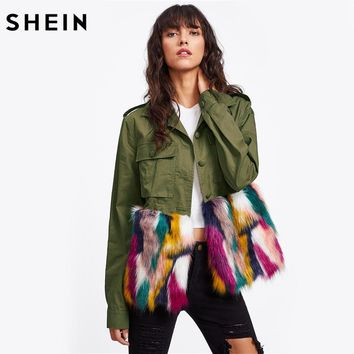 SHEIN Colorful Faux Fur Trim Utility Jacket Autumn Jacket Women Army Green Lapel Single Breasted Color Block Jacket