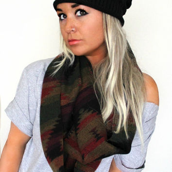 FREE SHIPPING- Southwestern Tribal Scarf, Aztec Inspired Infinity Scarf, Hipster Scarf, Navajo Inspired Scarf, Geometric Scarf