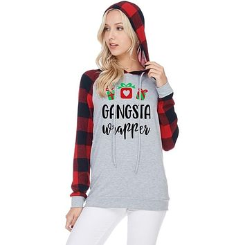 """""""Gansta Wrapper"""" Christmas Graphic Hoodie - Red/H. Grey"""