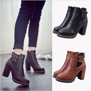 Women Thick With High Heel Double Buckle Elastic Bootie Zipper Martin Ankle Boot = 1946674628