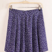 Purple Floral Pleated Mini Skirt