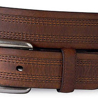 Ariat Men's Barrel Triple Stitch Leather Belt Redwood
