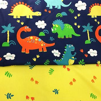 100% Cotton Twill cloth Cartoon dinosaur pattern for baby child Bedding cover quilt Pillow tablecloth DIY Patchwork fabric