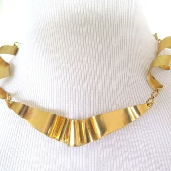 Gold Brass Ribbon Necklace, Artisan Forged Statement Neckpiece