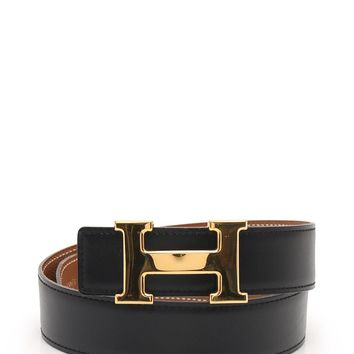 HERMES Constance H belt Reversible belt box calf black A engraved Gold Hardware