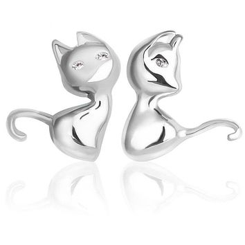 Sterling Silver Cat Stud Earrings for Women Brincos Bijoux Piercing Jewelry