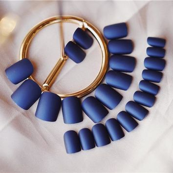 New 24 pieces Matte Navy Blue Nail Tips