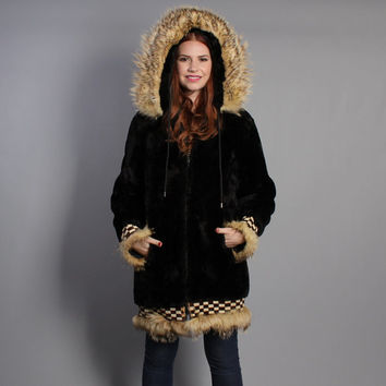 60s INUIT Alaska FUR COAT / 1960s Sheared Lamb Coyote Trim Hood Parka