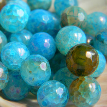 8mm Blue Dragon Vein Agate Beads Faceted Round 10 Pieces