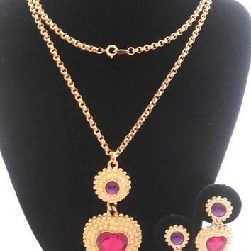 Trifari Statement Necklace Earring Set - Red & Purple Glass Stones - 1970's 1980's Designer Signed Jewelry