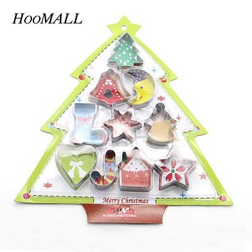 Hoomall 10Pcs/Set 3D DIY Stainless Steel Cookie Cutters Biscuit Cake Mold Christmas Decorations for Home Kitchen Baking Tools