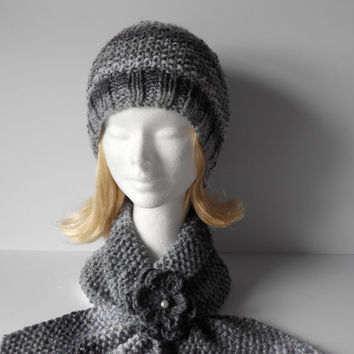 Hat and Scarf Set, Women's knitted hat and scarf set, Keyhole scarf and hat set, Women's Spring hat and scarf. Short scarf and winter hat,